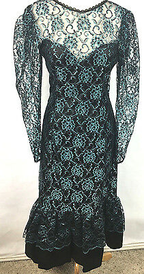 Vintage Gunne Sax Black And Turquoise Lace dress With Sweetheart Neckline Size 9