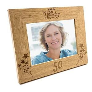 Image Is Loading Happy 50th Birthday Wooden Photo Frame Gift FW126