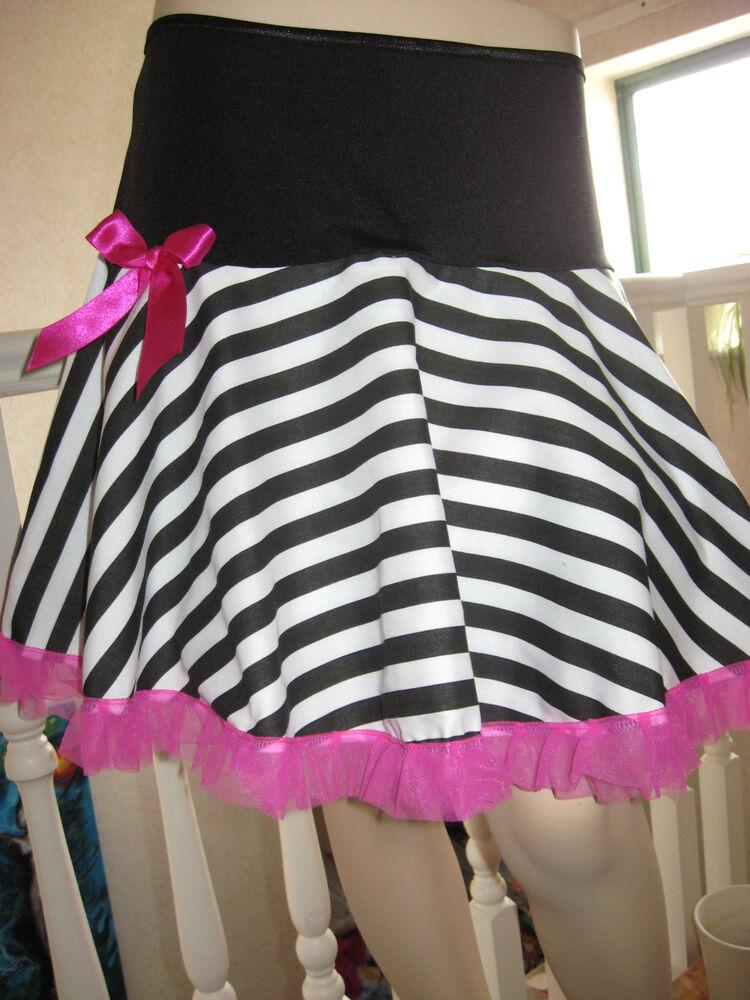 À Rayures Jupe Noire Femmes Blanc Rose Volantée Swing Party Lolita Fancy Dress Rock