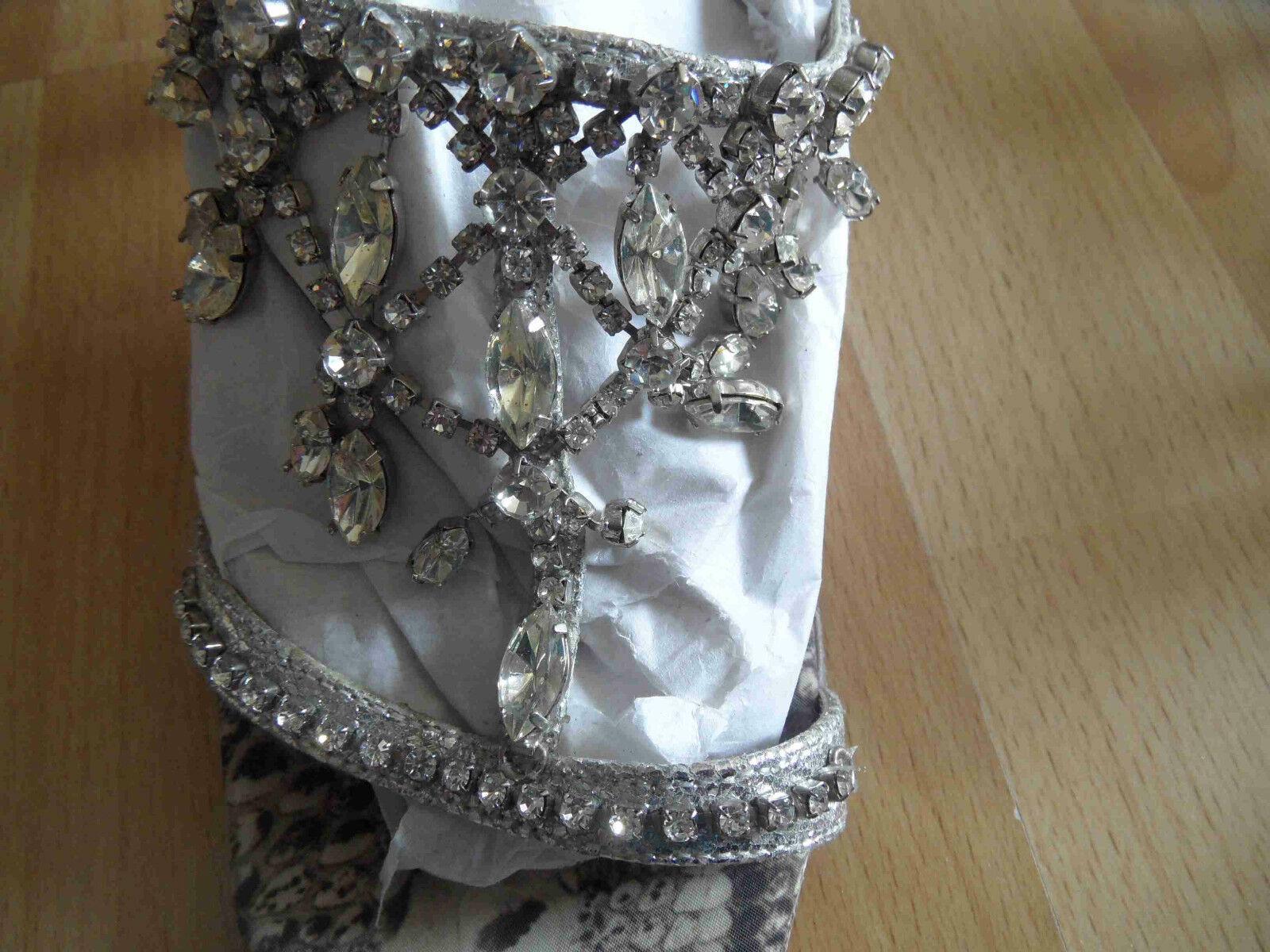 BEVERLY m. FELDMAN schöne Sandalette Python m. BEVERLY Strass Gr. 35,5  TOP OA1 b94256