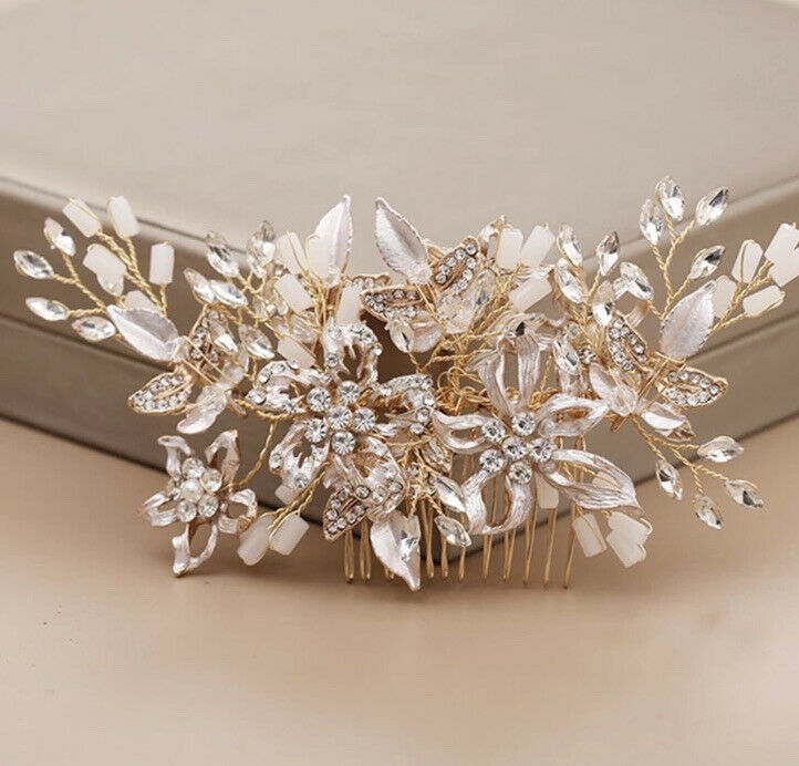 Bridesmaid Bridal Wedding Party Prom Gold Floral Pearl Crystal Leaf Hair Comb