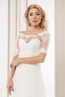 Bridal Ivory/white Lace Bolero Shrug Wedding Jacket S/m - L/xl