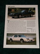 ★★1984 CHEVY CAMARO SPEC SHEET INFO PHOTO 84 Z28 Z/28 BERLINETTA HO★★
