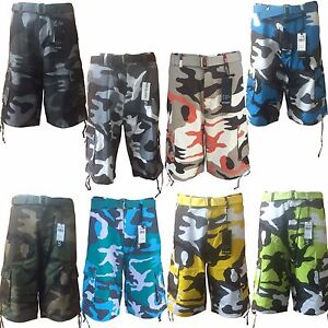 Men-039-s-Army-Camouflage-Cargo-Shorts-and-Solid-Colors-With-Belt-034-Free-Shipping-034