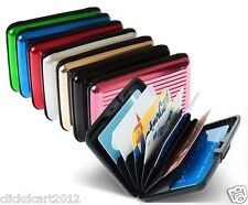 Aluminum ID RFID Business Credit Cards Holder Wallet Protection Case - Fusha
