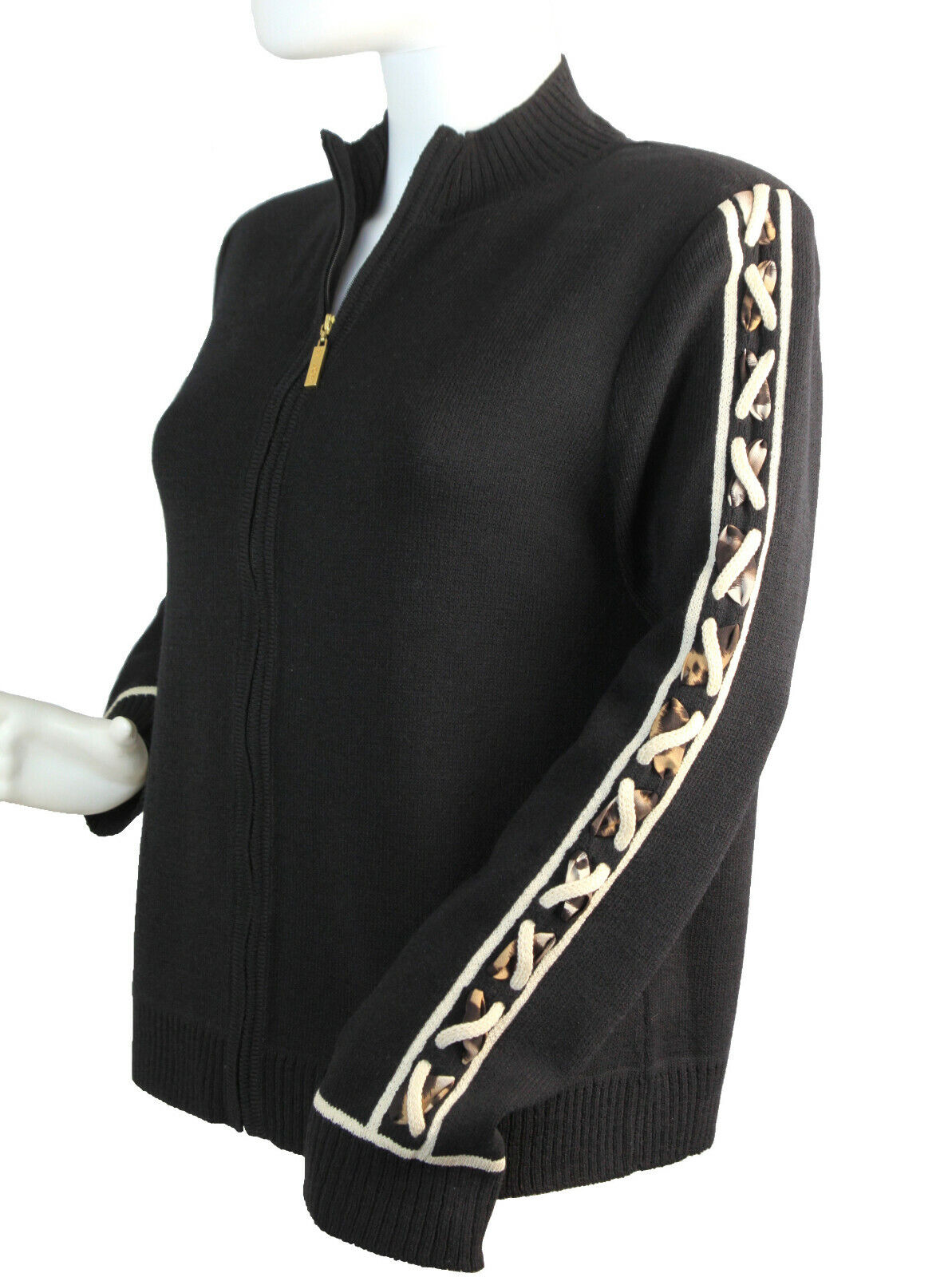 St. John schwarz Wool Blend Knit Zip Cardigan Top With Braided Sleeves Größe Small