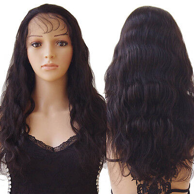 7A Glueless Full Head Lace Front Wigs Human Hair Brazilian Natural Loose Curly R