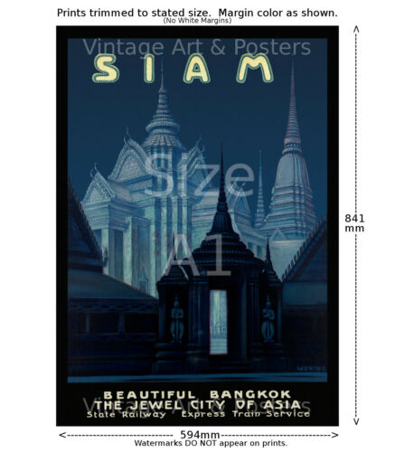 Vintage Travel Poster 6 sizes, matte+glossy avail Siam