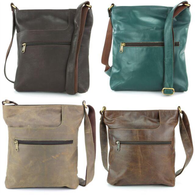 7a860f084df4 Leather Shoulder Bag Handbag Ladies Men BROWN Real Messenger Satchel
