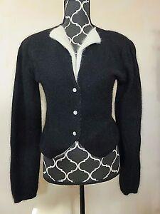 THE-VILLAGER-Vintage-Wool-Angora-Black-White-Cardigan-Sweater-Size-M