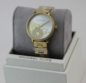 NEW AUTHENTIC MICHAEL KORS JARYN PAVE CRYSTALS GOLD FLOWERS WOMEN S ... 6354ddd140
