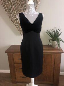 L-K-Bennett-Talla-10-Negro-impresionante-vestido-elegante-estilo-atemporal