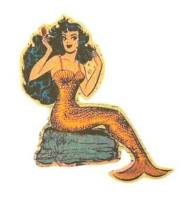 Mermaid Iron on Patch Sailor Mens Shirt Pin Up Vintage Applique Tattoo Flash DIY