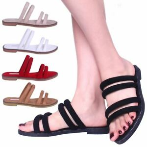 Womens-Ladies-Flat-Slip-On-Sandals-Strappy-Summer-Holiday-Slides-Mules-Shoe-SIze