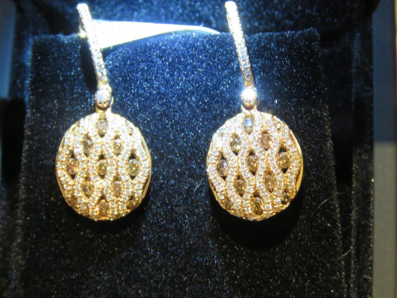 LAST DAYS    6600 RARE 18KT pink gold LARGE FANCY COGNAC DIAMOND DANGLE EARRINGS