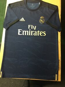 hot sale online ccec5 f93b7 Details about Adidas Real Madrid Away Jersey 2019/20 Navy Gold Stadium Cut  Size XL Only