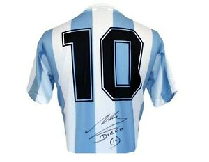 Diego-Maradona-signed-autographed-World-Cup-86-Argentina-Shirt-jersey-PROOF