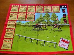 Calendario 1968.Dettagli Su Antico Strofinaccio Tessuto Calendario 1968 Terzo A 3 Cavalli
