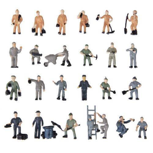 25 Stueck Bemalte Figuren 1:87 Figuren Eisenbahner Miniaturen mit Eimer und G6I8