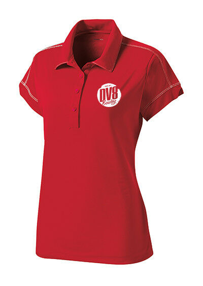 DV8 Women's Grudge Performance Polo Bowling Shirt Dri-Fit Red