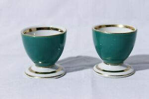 Winterling-Bavaria-Germany-Green-amp-Gold-Egg-Cups-Lot-of-2