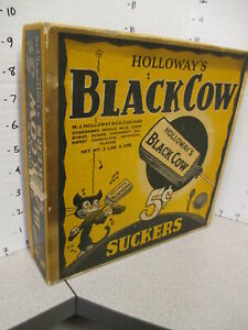 Holloway's BLACK COW 1930s candy sucker store display box black cat fiddle spoon