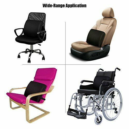 Recliner Joy.Box Lumbar Support Memory Foam Gel Infused Back Pain Relief and Prevention Pillow Back Cushion for Car,Office Chair Rose Pink