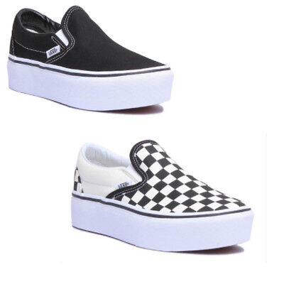 7596c5a56f6036 Vans Checkerboard Classic À Enfiler Plateforme Femmes Toile Black White  Baskets