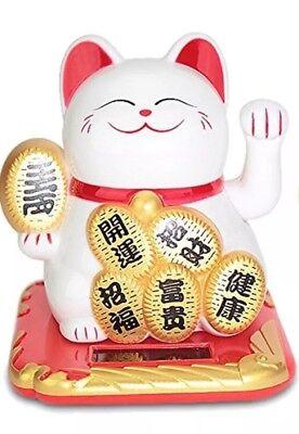 SOLAR Maneki Neko Feng Chui Good Fortune Waving Lucky Beckoning Cat