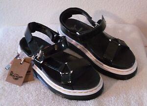 b468ab227ec5 NWT Dr Martens Aggy Womens Platform Sandals 9 Black Patent Lamper ...