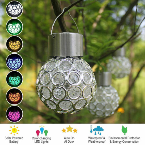 Edelstahl LED Solar Hängelampe Gartenleuchte Hänge-Leuchte Deko Glühbirne Glas