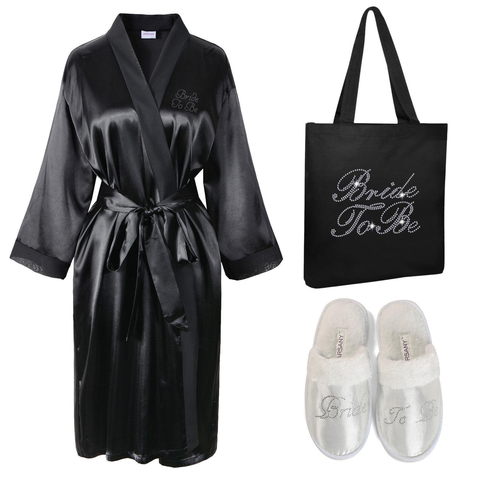 Crystal Bride To Be Satin Bathrobe+Tote Bag+Spa Slipper set Kimono Dressing gown