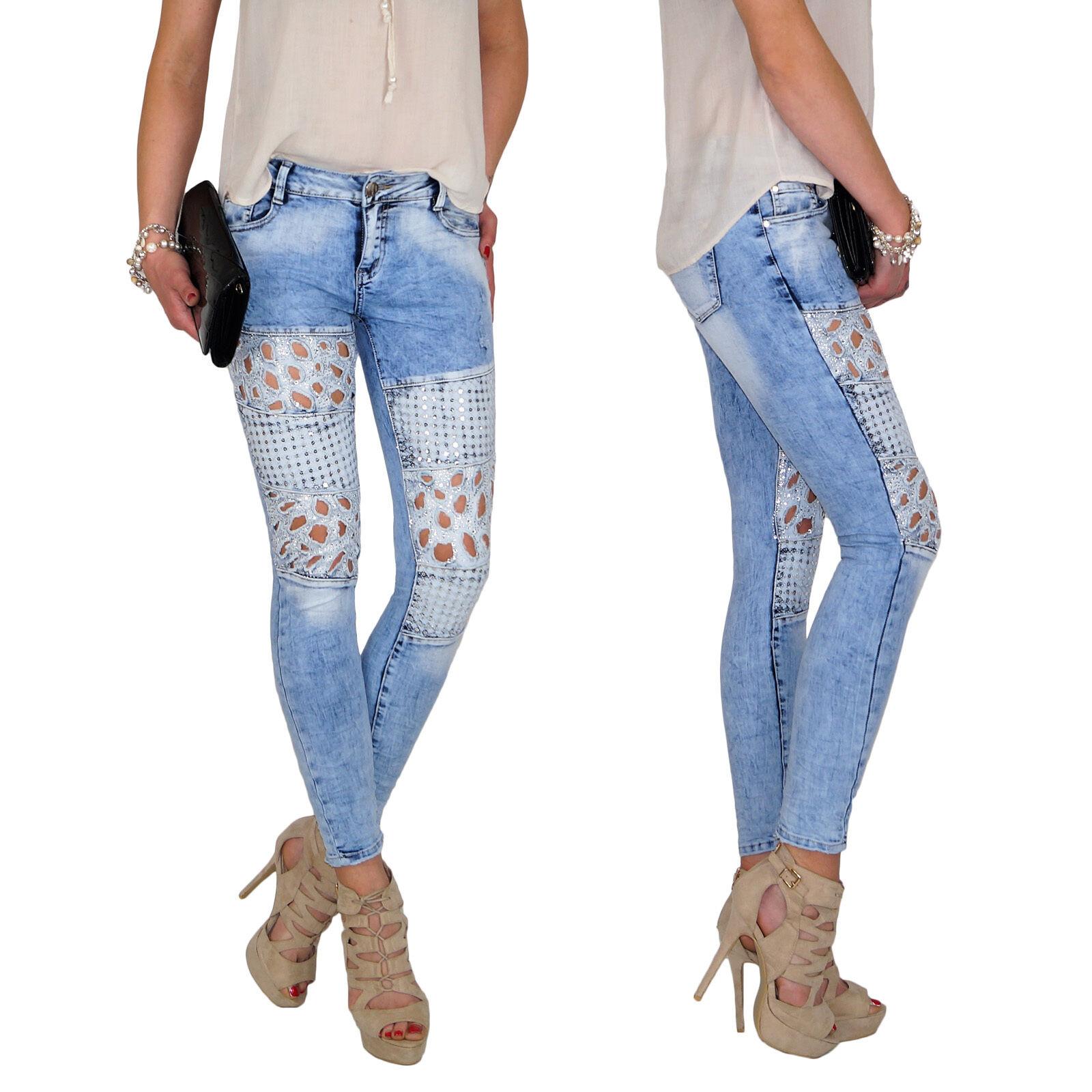 Damen Stretch Cutouts Skinny Slim Fit Hüft Jeans Hose Röhrenjeans Röhre E111