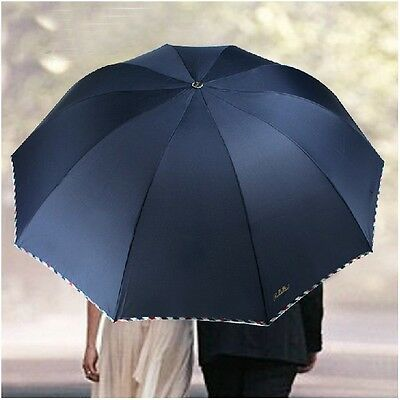 New Windproof Anti UV Clear/Rain Korean Lacework Princess Folding Umbrellas Blue