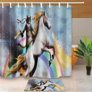 Image Is Loading Magical Shower Curtain Set Funny Unicorn And Cat