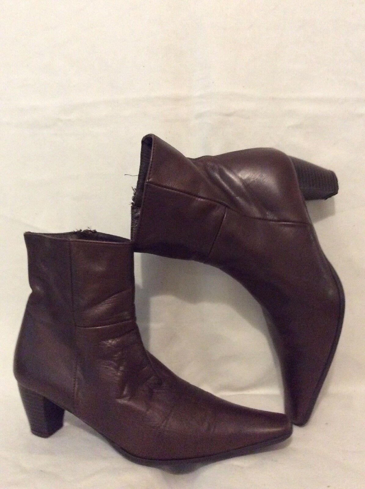 Aura white Brown Ankle Leather Boots Size 37