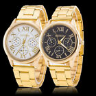 Luxury Mens Womens Gold Stailess Steel Roman Analog Quartz Business Wrist Watch