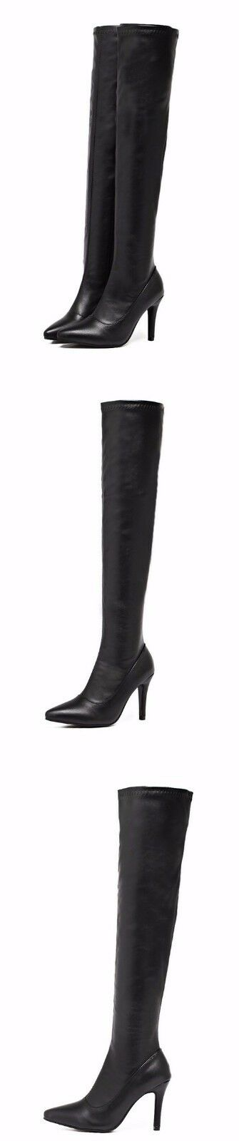 Stiefel Schuhe Stilett 9 cm Bein Hoch Schenkel schwarz simil Leder CW959