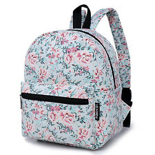 Floral Canvas Mini Backpack Purse Cute Daily Backpacks For Teen Girls FlowerBlue