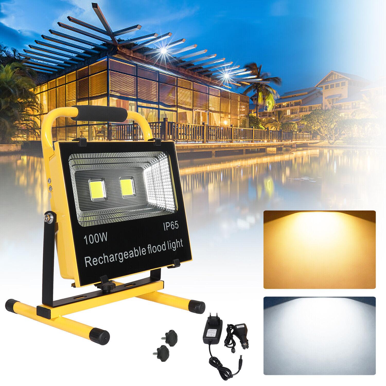 LED Fluter Flutlicht 100W Arbeitsleuchte Strahler Akku Handlampe Außenlampe IP65