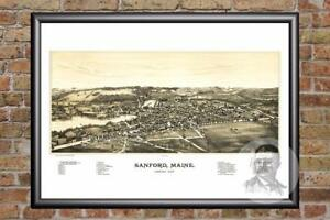 Vintage Sanford Me Map 1889 Historic Maine Art Old Victorian