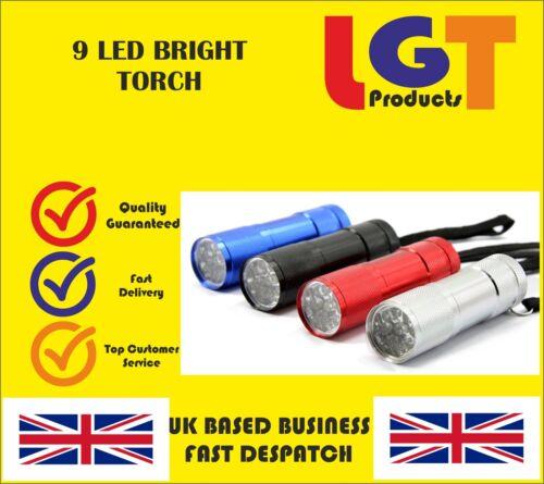9 ultra bright led puissant petit camping Torche Lampe de Lumière Flash Feux Mini