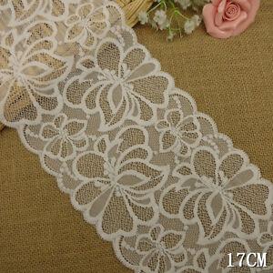 1-Yard-Pretty-Stretch-Floral-Delicate-Scallop-Edge-Lace-Trim-White-6-1-2-034-Wide