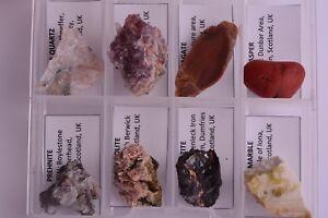 Set-of-8-SCOTTISH-MINERALS-Scotland-Amethyst-Agate-Jasper-Natrolite-BOXED-SET1