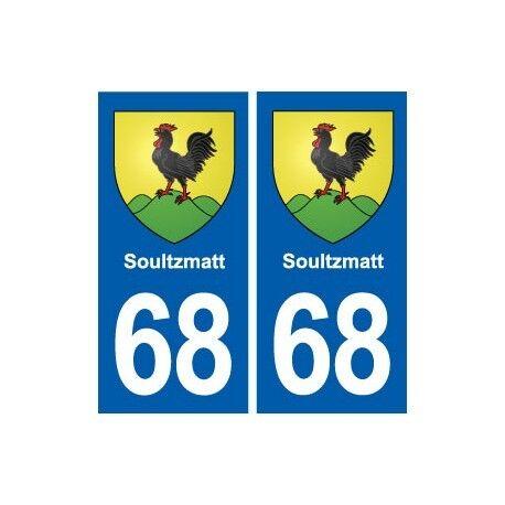 68 Soultzmatt blason autocollant plaque stickers ville arrondis