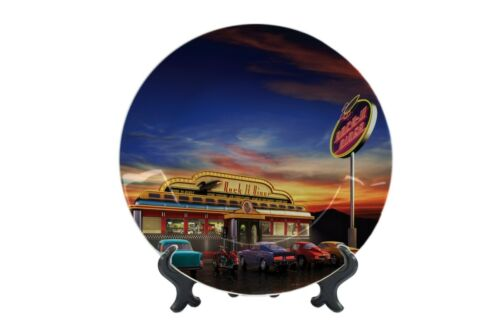Dinner Plates Vintage Car Diner United States Ceramic Print