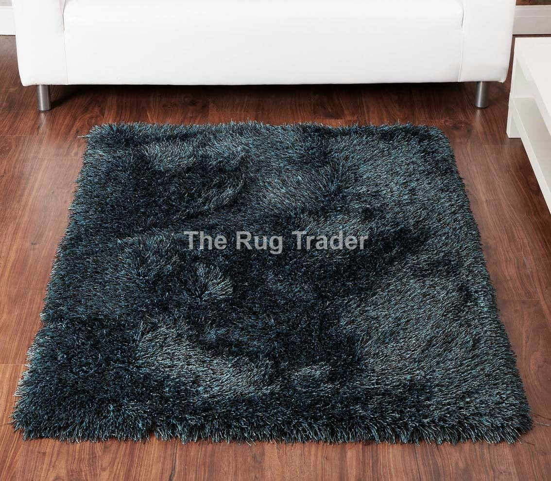 Balotelli Soft Rug Shaggy Rug Chocolate Teal Blue Mix en différentes tailles et cercles