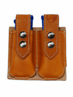 Barsony Tan Leather Double Magazine Pouch Steyr Walther Full Size 9mm 40 45