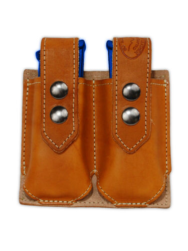 NEW Barsony Tan Leather Double Magazine Pouch FN GLOCK HK Full Size 9mm 40 45