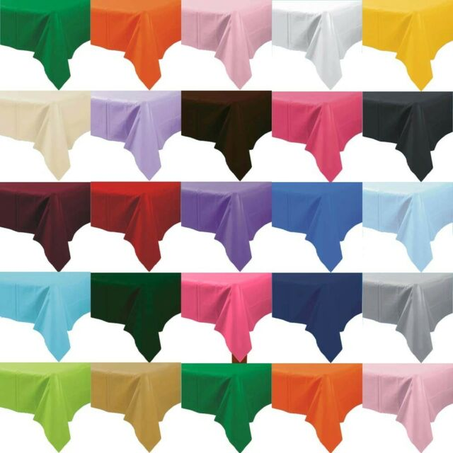 "5 x Plastic Tablecloths Solid Color 108"" x 54"" Bulk Wholesale Choice of Colors"